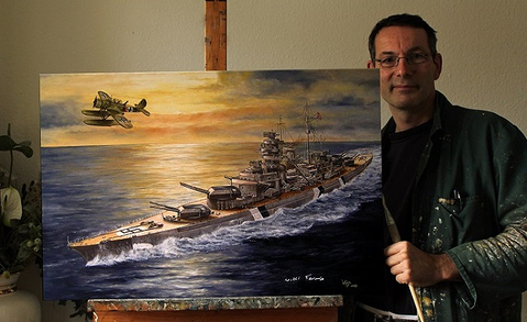 Battleship Bismarck, artist, Oil, painter, Navy,