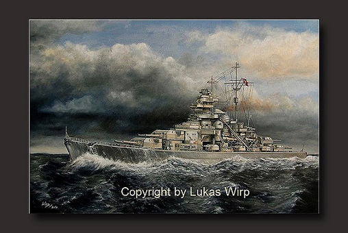 German, bismarck, navy, battle, Hood, art, painting, navy