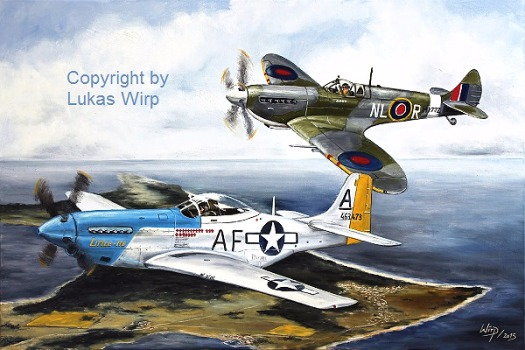 Air force, 2nd World War, Mustang, Spitfire, print , Military, picture