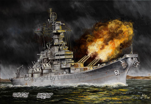 US Navy painting, picture, Iowa, class, firing, battle