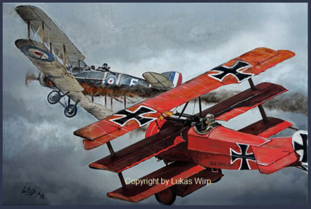 Air force, WW1, Triplne, dogfight, painting